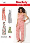 1355 Simplicity Pattern: Misses' Maxi Dress and Long or Short Jumpsuit